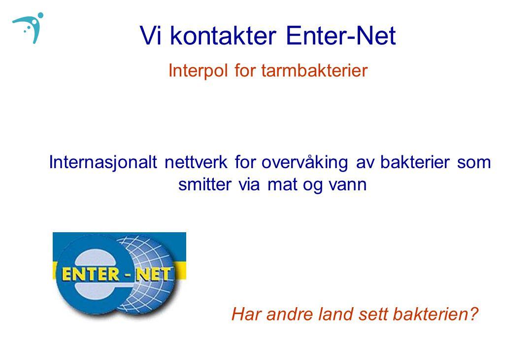 Vi kontakter Enter-Net Interpol for tarmbakterier Internasjonalt nettverk for overvåking av bakterier som smitter via mat og vann Har andre land sett