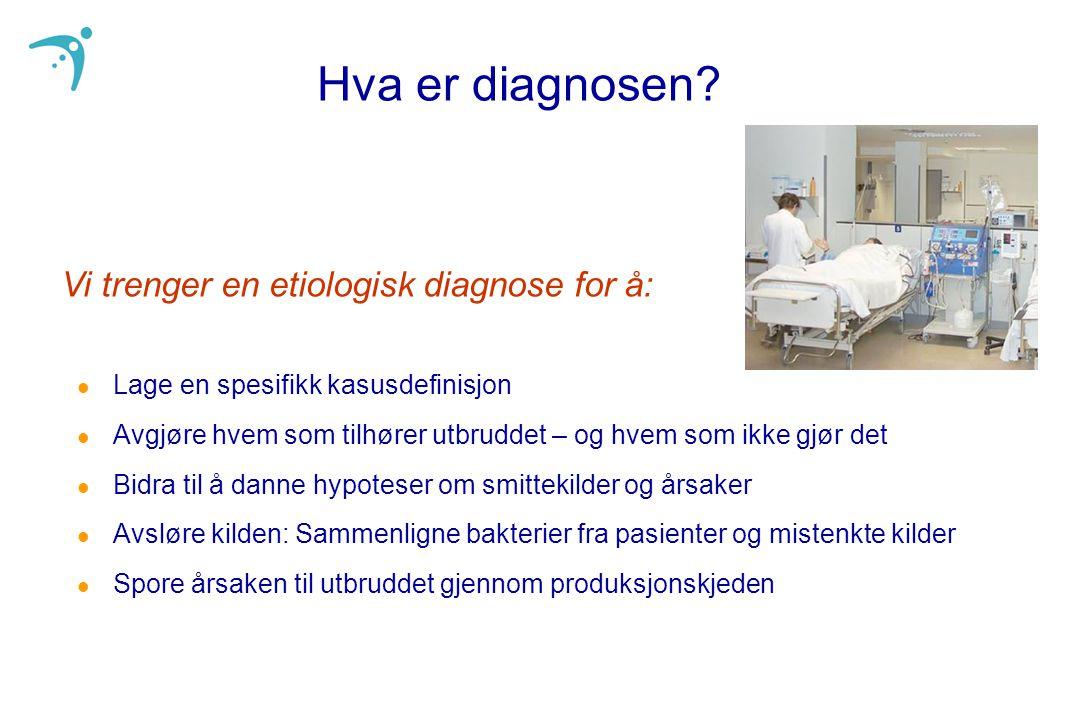 Hva er diagnosen? l Lage en spesifikk kasusdefinisjon l Avgjøre hvem som tilhører utbruddet – og hvem som ikke gjør det l Bidra til å danne hypoteser