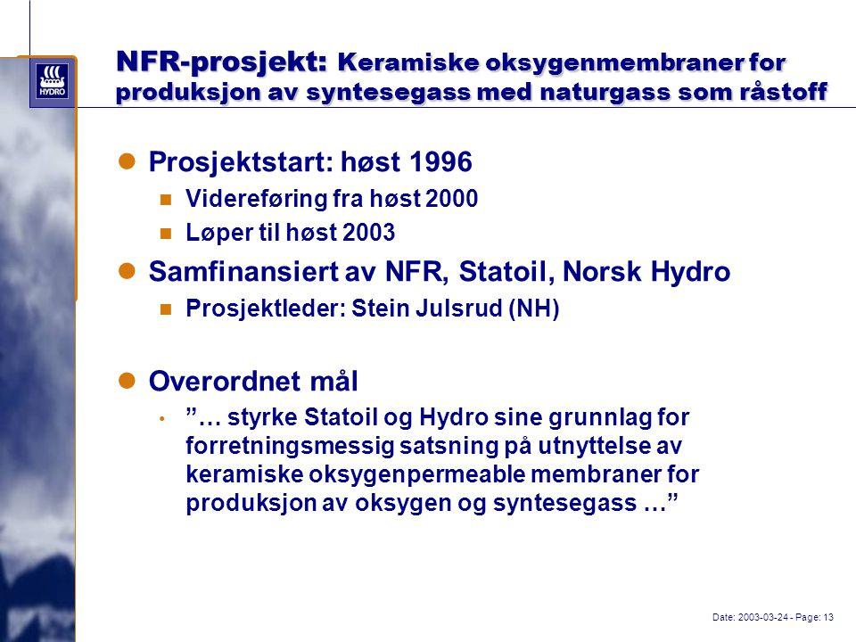 Date: 2003-03-24 - Page: 13 NFR-prosjekt: Keramiske oksygenmembraner for produksjon av syntesegass med naturgass som råstoff Prosjektstart: høst 1996 Videreføring fra høst 2000 Løper til høst 2003 Samfinansiert av NFR, Statoil, Norsk Hydro Prosjektleder: Stein Julsrud (NH) Overordnet mål … styrke Statoil og Hydro sine grunnlag for forretningsmessig satsning på utnyttelse av keramiske oksygenpermeable membraner for produksjon av oksygen og syntesegass …