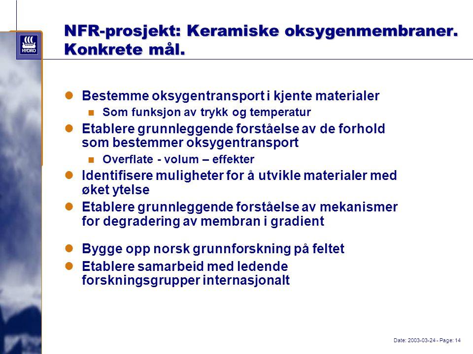 Date: 2003-03-24 - Page: 14 NFR-prosjekt: Keramiske oksygenmembraner.
