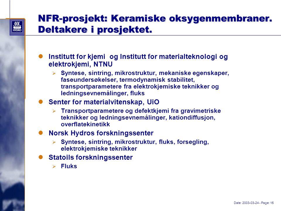 Date: 2003-03-24 - Page: 15 NFR-prosjekt: Keramiske oksygenmembraner.
