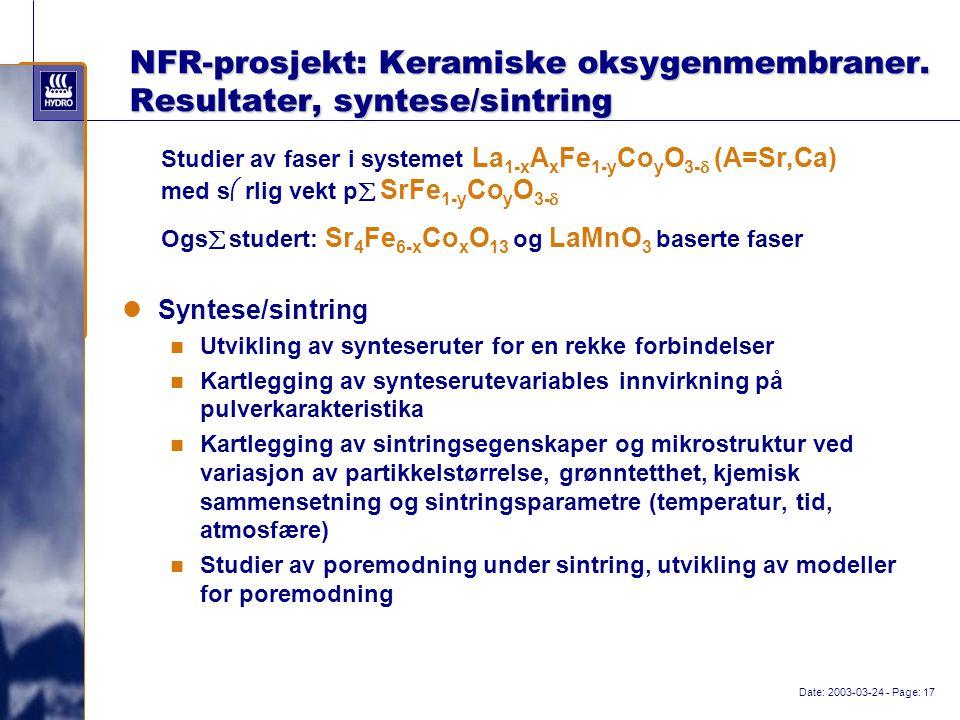 Date: 2003-03-24 - Page: 17 NFR-prosjekt: Keramiske oksygenmembraner.