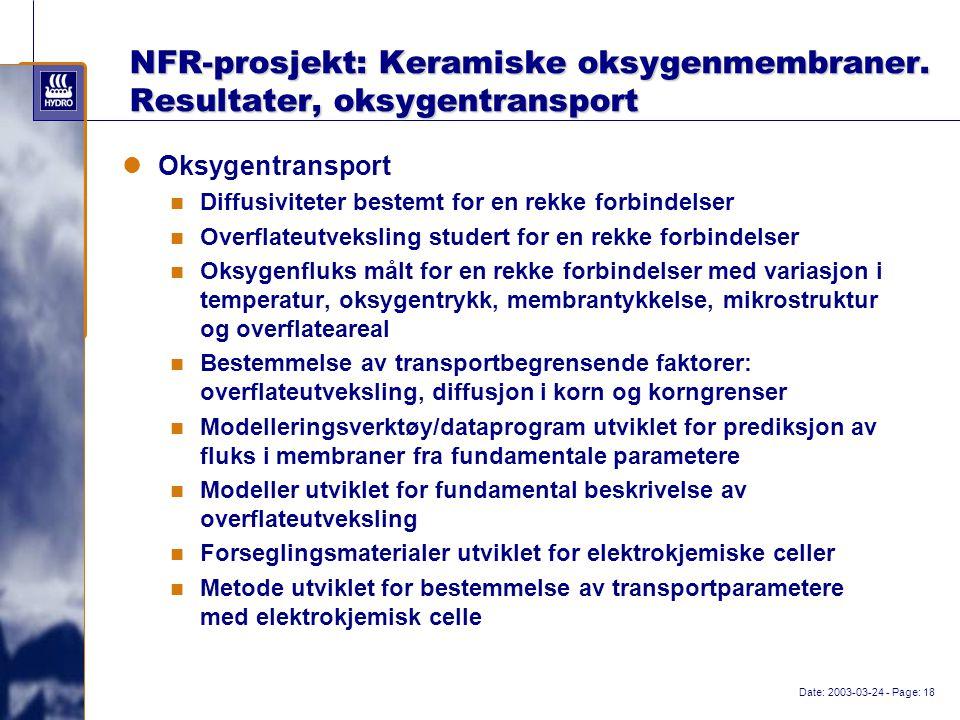Date: 2003-03-24 - Page: 18 NFR-prosjekt: Keramiske oksygenmembraner.