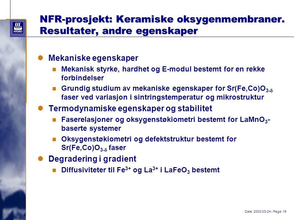 Date: 2003-03-24 - Page: 19 NFR-prosjekt: Keramiske oksygenmembraner.