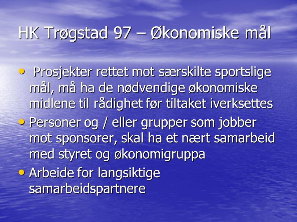 HK Trøgstad 97 – Økonomiske mål Prosjekter rettet mot særskilte sportslige mål, må ha de nødvendige økonomiske midlene til rådighet før tiltaket iverk