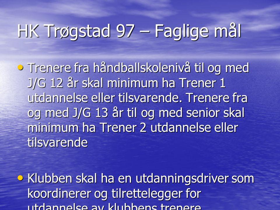 HK Trøgstad 97 – Faglige mål Trenere fra håndballskolenivå til og med J/G 12 år skal minimum ha Trener 1 utdannelse eller tilsvarende. Trenere fra og