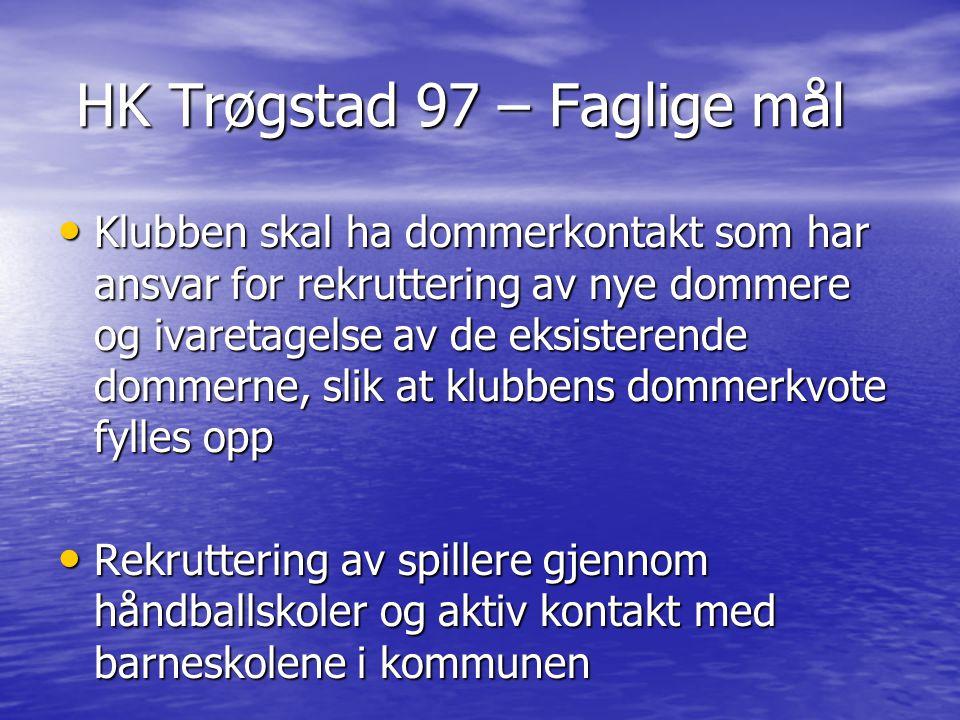 HK Trøgstad 97 – Faglige mål HK Trøgstad 97 – Faglige mål Klubben skal ha dommerkontakt som har ansvar for rekruttering av nye dommere og ivaretagelse