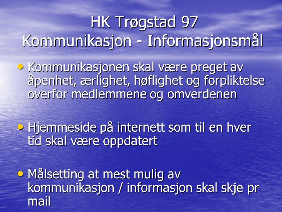 HK Trøgstad 97 Kommunikasjon - Informasjonsmål HK Trøgstad 97 Kommunikasjon - Informasjonsmål Kommunikasjonen skal være preget av åpenhet, ærlighet, h