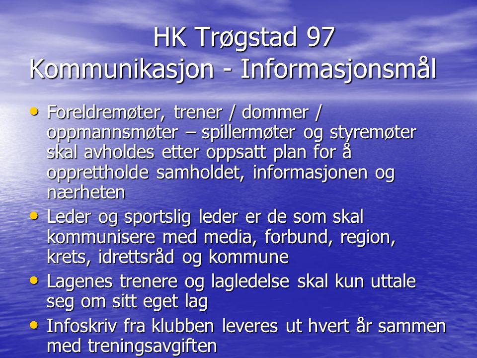 HK Trøgstad 97 Kommunikasjon - Informasjonsmål HK Trøgstad 97 Kommunikasjon - Informasjonsmål Foreldremøter, trener / dommer / oppmannsmøter – spiller
