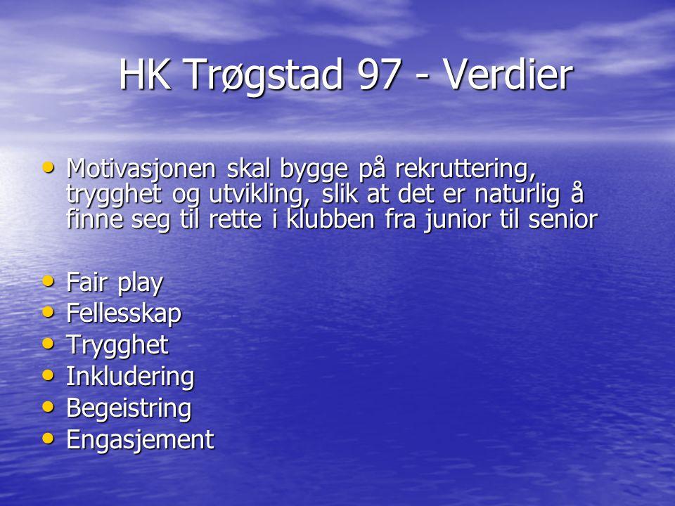 HK Trøgstad 97 - Verdier HK Trøgstad 97 - Verdier Motivasjonen skal bygge på rekruttering, trygghet og utvikling, slik at det er naturlig å finne seg