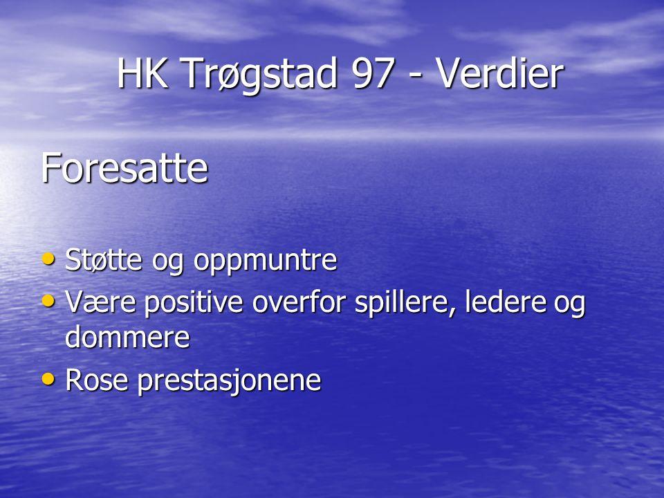 HK Trøgstad 97 - Verdier HK Trøgstad 97 - Verdier Foresatte Støtte og oppmuntre Støtte og oppmuntre Være positive overfor spillere, ledere og dommere