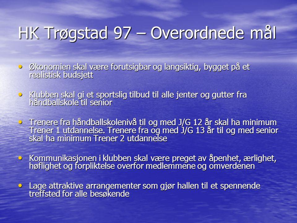 HK Trøgstad 97 – Overordnede mål Økonomien skal være forutsigbar og langsiktig, bygget på et realistisk budsjett Økonomien skal være forutsigbar og la