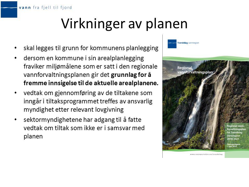 Regionalt tiltaksprogram Konkret vurdering av miljømål og ulike tiltak for hver vannforekomst Tiltakene skal være operative senest tre år etter at tiltaksprogrammet er vedtatt – innen utgangen av 2018.