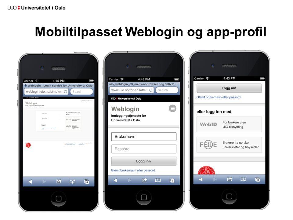 Mobiltilpasset Weblogin og app-profil