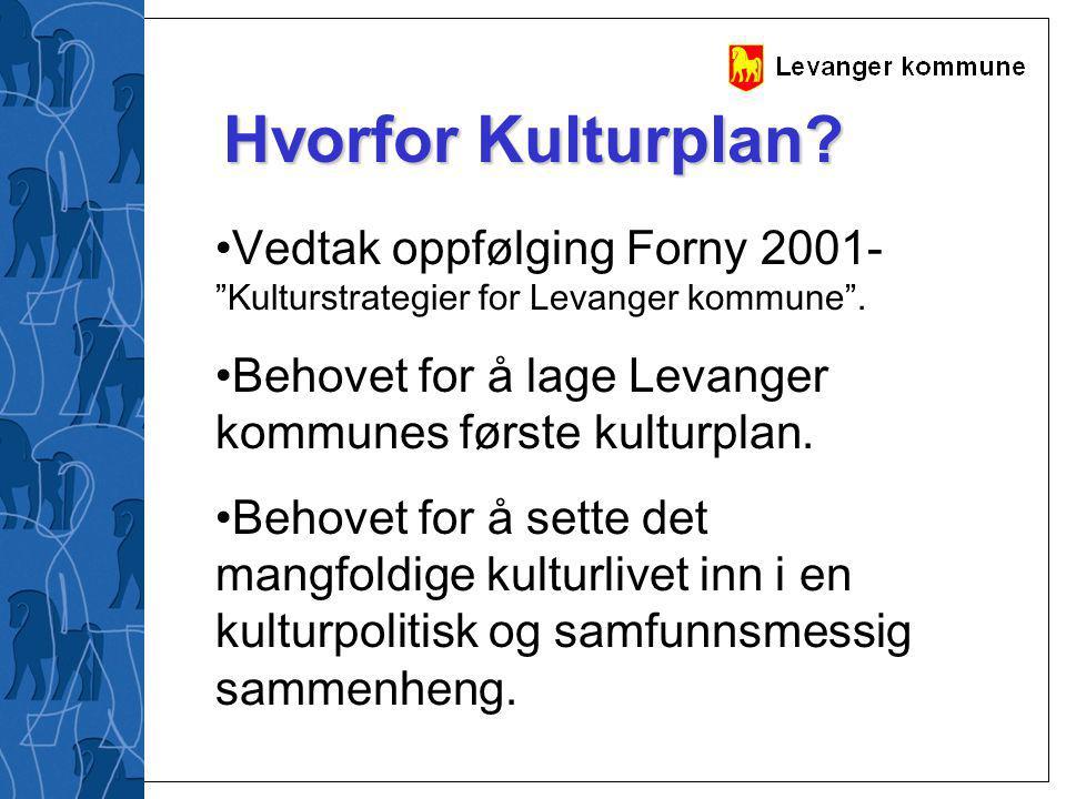 """Hvorfor Kulturplan? Vedtak oppfølging Forny 2001- """"Kulturstrategier for Levanger kommune"""". Behovet for å lage Levanger kommunes første kulturplan. Beh"""