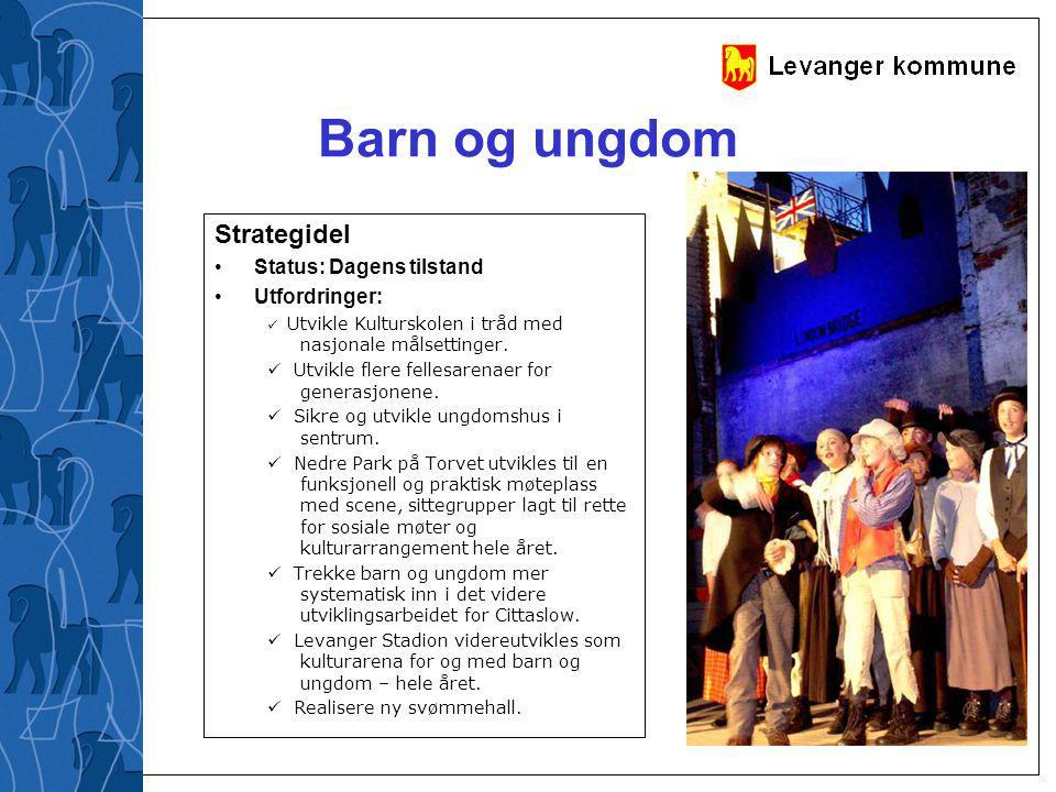 Barn og ungdom Strategidel Status: Dagens tilstand Utfordringer:  Utvikle Kulturskolen i tråd med nasjonale målsettinger.  Utvikle flere fellesarena