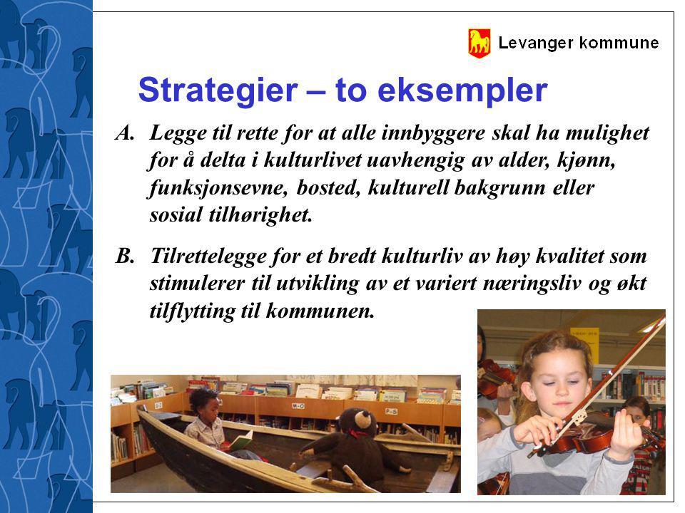 Strategier – to eksempler A.Legge til rette for at alle innbyggere skal ha mulighet for å delta i kulturlivet uavhengig av alder, kjønn, funksjonsevne