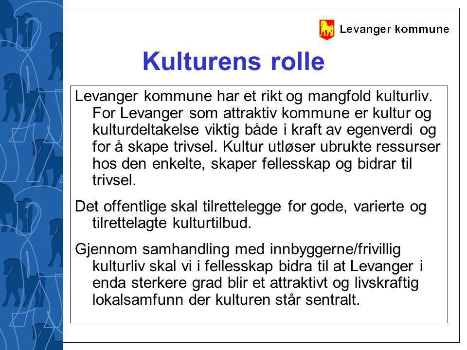 Kulturens rolle Levanger kommune har et rikt og mangfold kulturliv. For Levanger som attraktiv kommune er kultur og kulturdeltakelse viktig både i kra