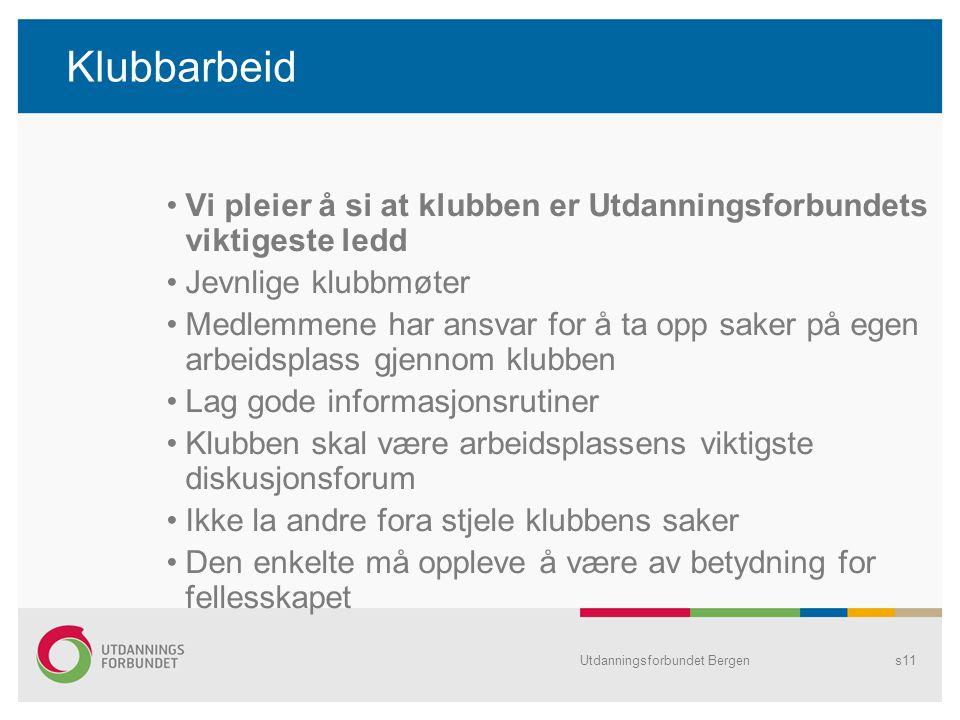 Utdanningsforbundet Bergens11 Klubbarbeid Vi pleier å si at klubben er Utdanningsforbundets viktigeste ledd Jevnlige klubbmøter Medlemmene har ansvar
