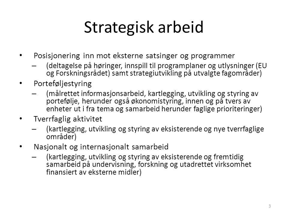 Strategisk arbeid Posisjonering inn mot eksterne satsinger og programmer – (deltagelse på høringer, innspill til programplaner og utlysninger (EU og F