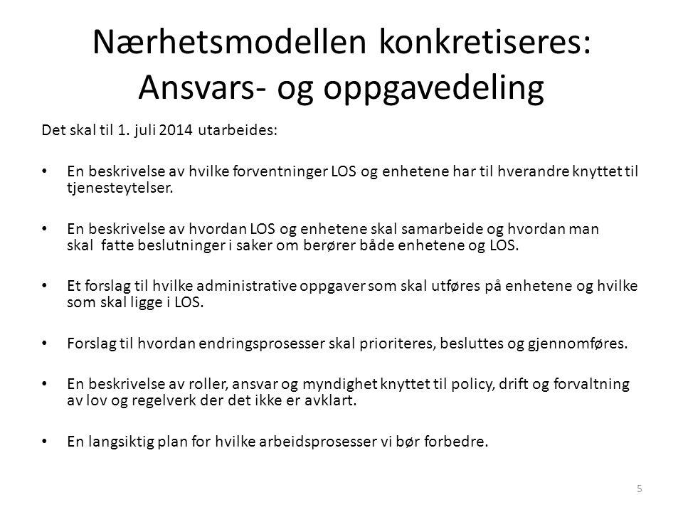 Nærhetsmodellen konkretiseres: Ansvars- og oppgavedeling Det skal til 1. juli 2014 utarbeides: En beskrivelse av hvilke forventninger LOS og enhetene