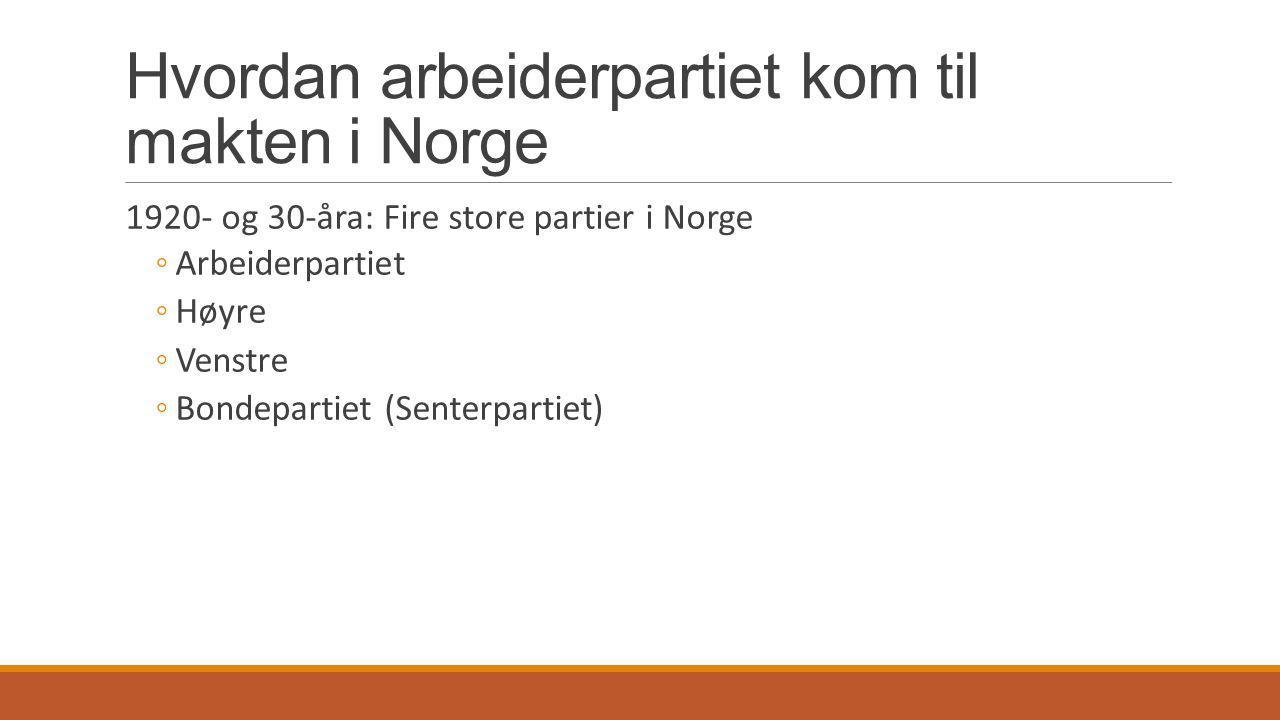 Hvordan arbeiderpartiet kom til makten i Norge 1920- og 30-åra: Fire store partier i Norge ◦Arbeiderpartiet ◦Høyre ◦Venstre ◦Bondepartiet (Senterparti