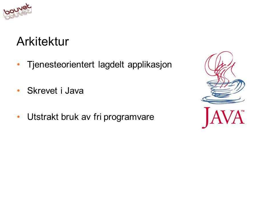 Arkitektur Tjenesteorientert lagdelt applikasjon Skrevet i Java Utstrakt bruk av fri programvare