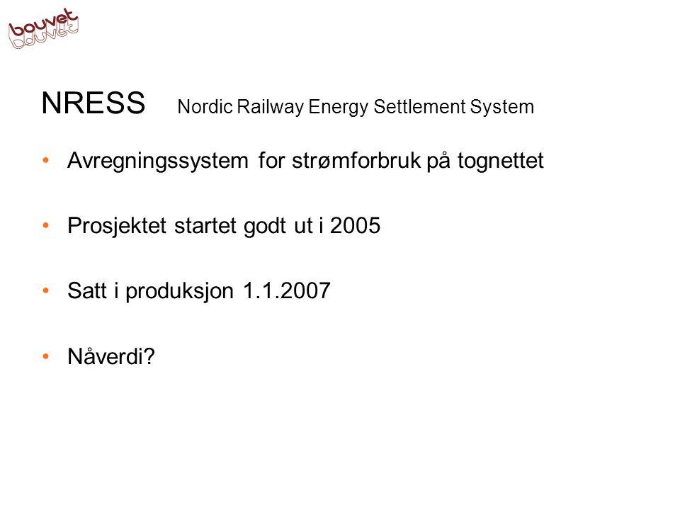 NRESS Nordic Railway Energy Settlement System Avregningssystem for strømforbruk på tognettet Prosjektet startet godt ut i 2005 Satt i produksjon 1.1.2007 Systemet har en positiv nåverdi på 890 mill.