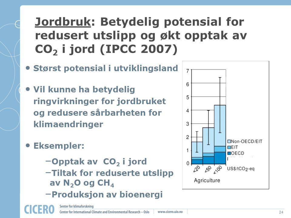 24 Jordbruk: Betydelig potensial for redusert utslipp og økt opptak av CO 2 i jord (IPCC 2007) Størst potensial i utviklingsland Vil kunne ha betydeli