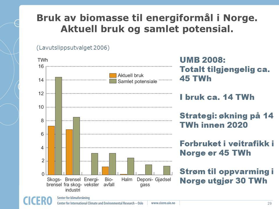 29 Bruk av biomasse til energiformål i Norge. Aktuell bruk og samlet potensial. (Lavutslippsutvalget 2006) UMB 2008: Totalt tilgjengelig ca. 45 TWh I