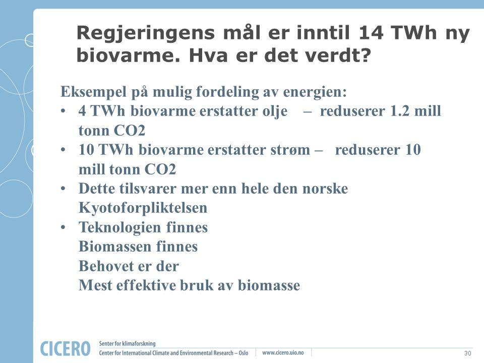 30 Eksempel på mulig fordeling av energien: 4 TWh biovarme erstatter olje – reduserer 1.2 mill tonn CO2 10 TWh biovarme erstatter strøm – reduserer 10