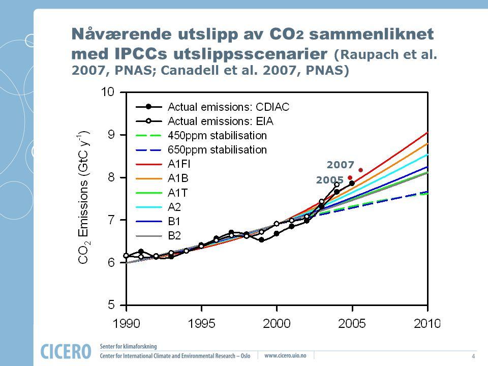 4 2005 2007 Nåværende utslipp av CO 2 sammenliknet med IPCCs utslippsscenarier (Raupach et al. 2007, PNAS; Canadell et al. 2007, PNAS) 