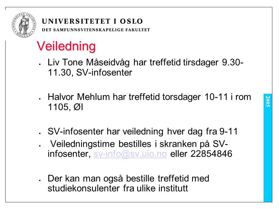 2005 Veiledning Liv Tone Måseidvåg har treffetid tirsdager 9.30- 11.30, SV-infosenter Halvor Mehlum har treffetid torsdager 10-11 i rom 1105, ØI SV-infosenter har veiledning hver dag fra 9-11 Veiledningstime bestilles i skranken på SV- infosenter, sv-info@sv.uio.no eller 22854846sv-info@sv.uio.no Der kan man også bestille treffetid med studiekonsulenter fra ulike institutt