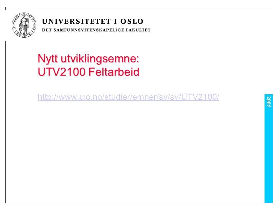 2005 Nytt utviklingsemne: UTV2100 Feltarbeid http://www.uio.no/studier/emner/sv/sv/UTV2100/
