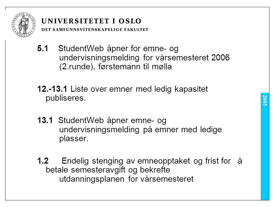 2005 5.1 StudentWeb åpner for emne- og undervisningsmelding for vårsemesteret 2006 (2.runde), førstemann til mølla 12.-13.1 Liste over emner med ledig kapasitet publiseres.