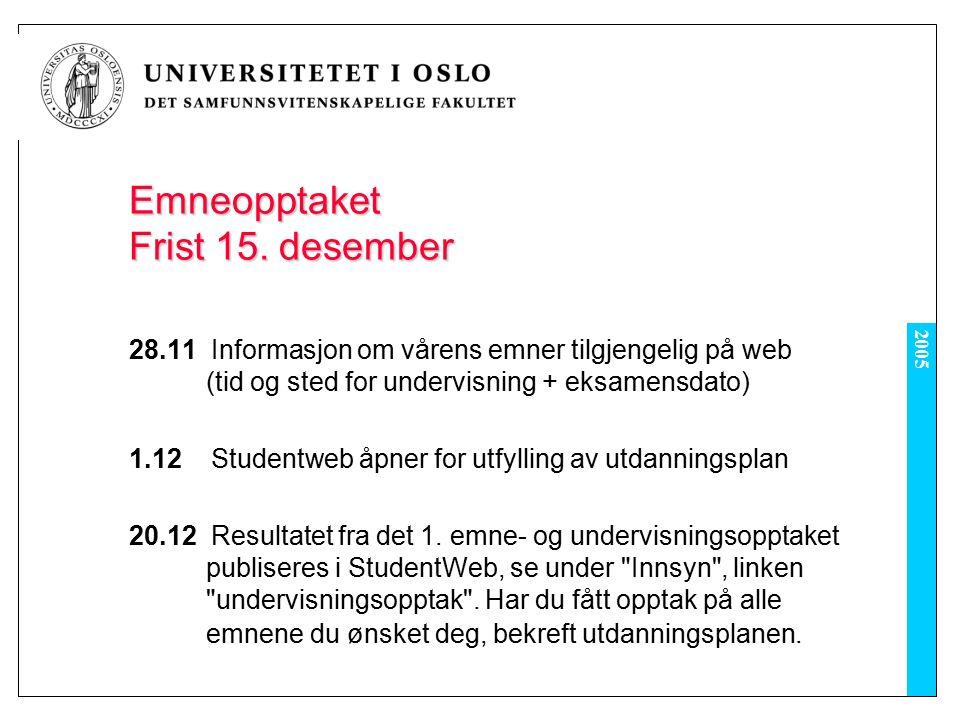 2005 4.1 StudentWeb åpner for emne- og undervisningsmelding for vårsemesteret 2006 (2.runde), førstemann til mølla 11.1 Liste over emner med ledig kapasitet publiseres.
