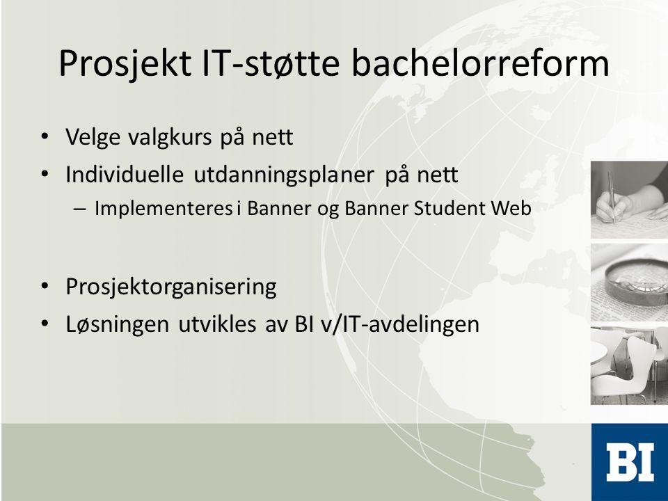 Prosjekt IT-støtte bachelorreform Velge valgkurs på nett Individuelle utdanningsplaner på nett – Implementeres i Banner og Banner Student Web Prosjektorganisering Løsningen utvikles av BI v/IT-avdelingen