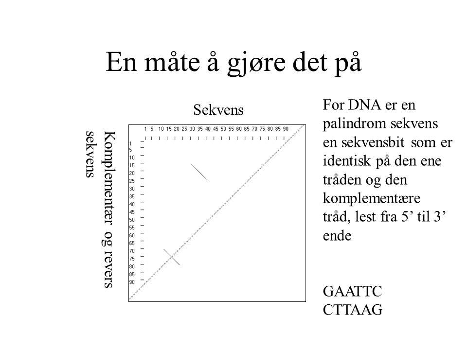 En måte å gjøre det på Sekvens Komplementær og reverssekvens For DNA er en palindrom sekvens en sekvensbit som er identisk på den ene tråden og den ko