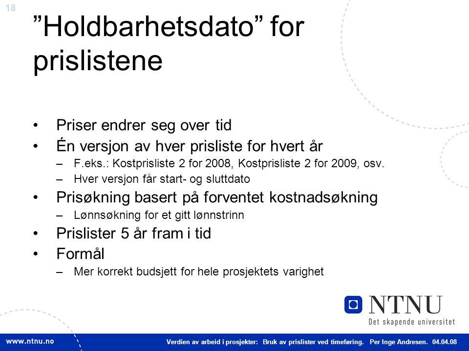 18 Holdbarhetsdato for prislistene Priser endrer seg over tid Én versjon av hver prisliste for hvert år –F.eks.: Kostprisliste 2 for 2008, Kostprisliste 2 for 2009, osv.