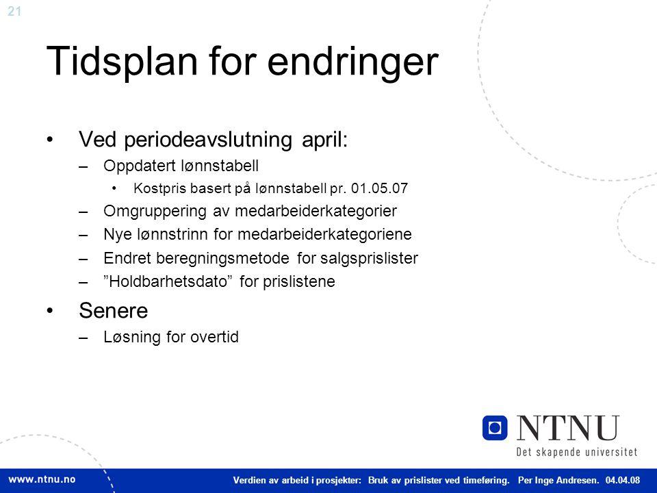 21 Tidsplan for endringer Ved periodeavslutning april: –Oppdatert lønnstabell Kostpris basert på lønnstabell pr.