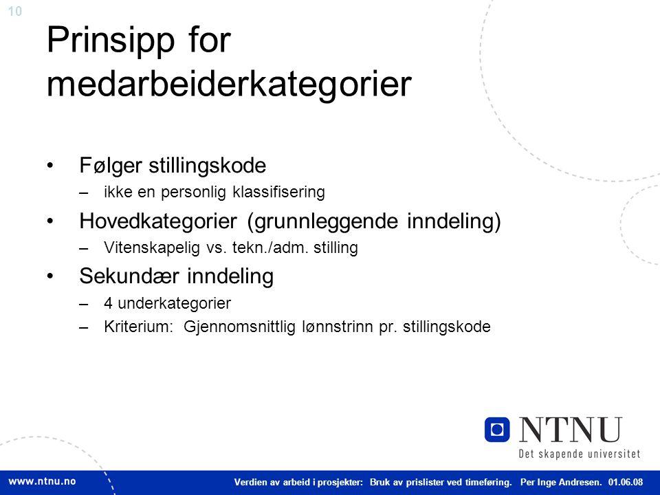 10 Prinsipp for medarbeiderkategorier Følger stillingskode –ikke en personlig klassifisering Hovedkategorier (grunnleggende inndeling) –Vitenskapelig vs.