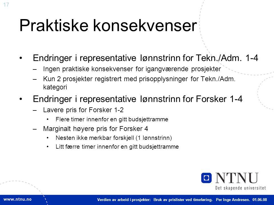 17 Praktiske konsekvenser Endringer i representative lønnstrinn for Tekn./Adm. 1-4 –Ingen praktiske konsekvenser for igangværende prosjekter –Kun 2 pr