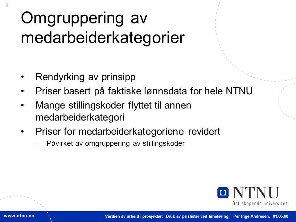 9 Omgruppering av medarbeiderkategorier Rendyrking av prinsipp Priser basert på faktiske lønnsdata for hele NTNU Mange stillingskoder flyttet til anne