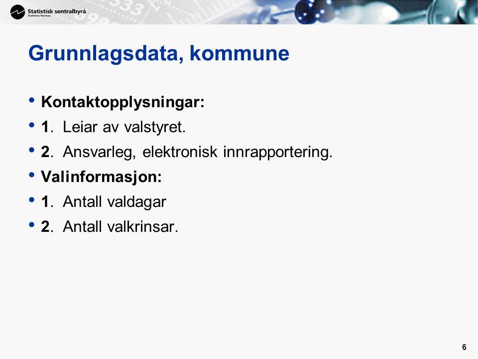 6 Grunnlagsdata, kommune Kontaktopplysningar: 1. Leiar av valstyret. 2. Ansvarleg, elektronisk innrapportering. Valinformasjon: 1. Antall valdagar 2.