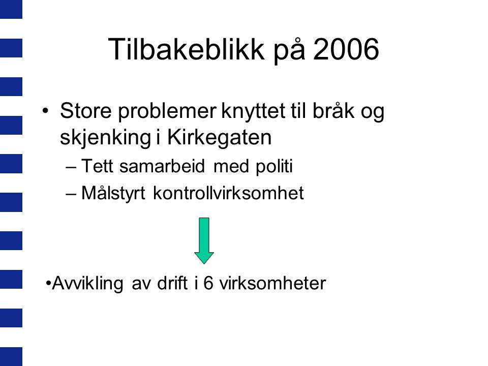 Tilbakeblikk på 2006 Store problemer knyttet til bråk og skjenking i Kirkegaten –Tett samarbeid med politi –Målstyrt kontrollvirksomhet Avvikling av drift i 6 virksomheter