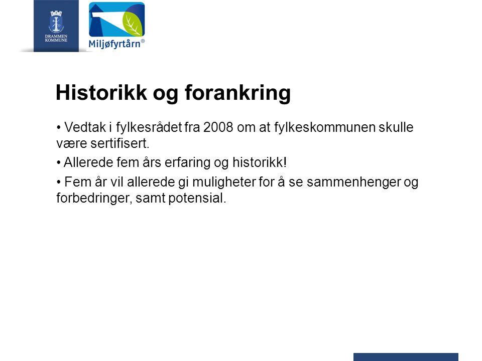 Historikk og forankring Vedtak i fylkesrådet fra 2008 om at fylkeskommunen skulle være sertifisert. Allerede fem års erfaring og historikk! Fem år vil