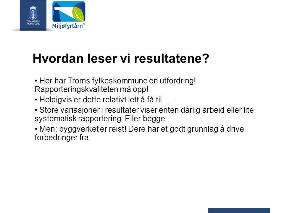 Hvordan leser vi resultatene? Her har Troms fylkeskommune en utfordring! Rapporteringskvaliteten må opp! Heldigvis er dette relativt lett å få til… St