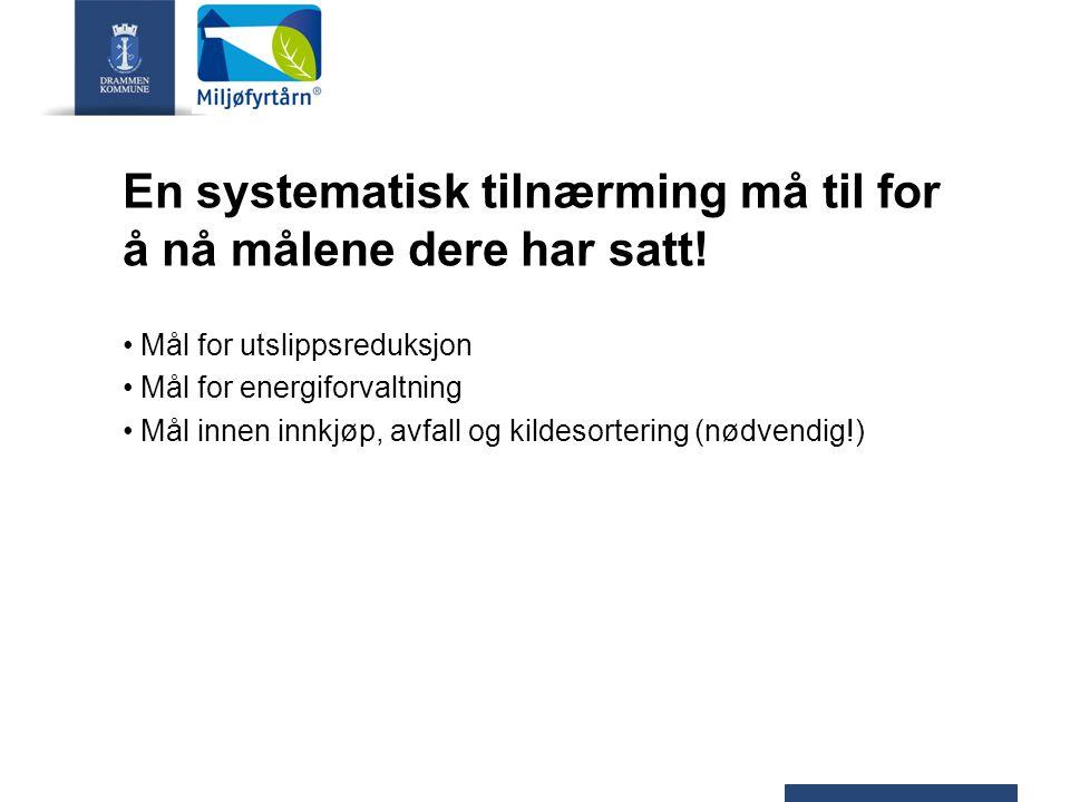 En systematisk tilnærming må til for å nå målene dere har satt! Mål for utslippsreduksjon Mål for energiforvaltning Mål innen innkjøp, avfall og kilde