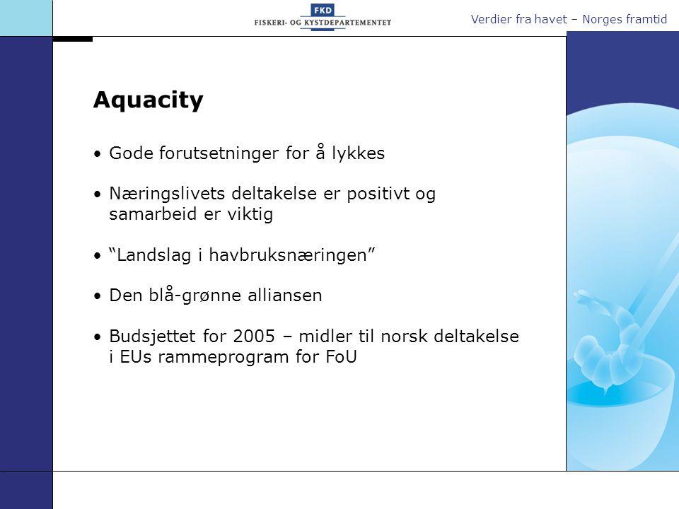 Verdier fra havet – Norges framtid Gode forutsetninger for å lykkes Næringslivets deltakelse er positivt og samarbeid er viktig Landslag i havbruksnæringen Den blå-grønne alliansen Budsjettet for 2005 – midler til norsk deltakelse i EUs rammeprogram for FoU Aquacity