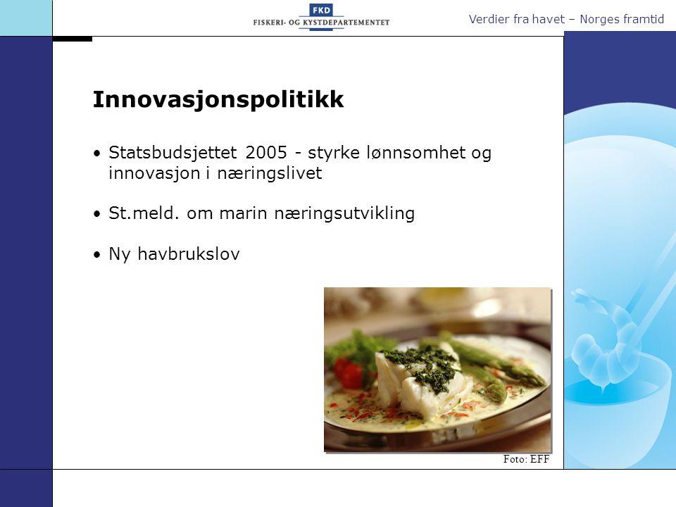 Verdier fra havet – Norges framtid Statsbudsjettet 2005 - styrke lønnsomhet og innovasjon i næringslivet St.meld.
